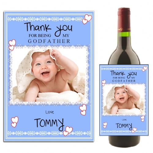 Personalised Blue Godfather Thank you Wine / Champagne Bottle PHOTO Label N28